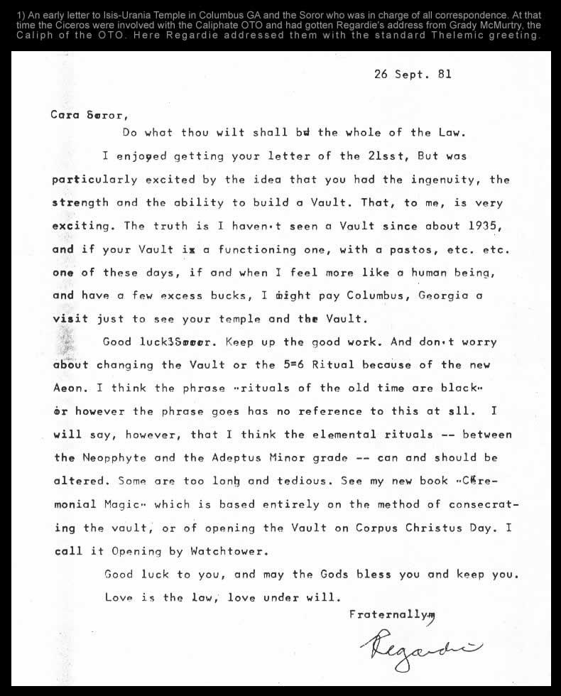 Regardie Letter 1