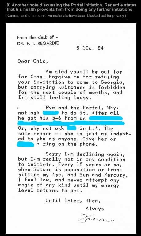 Regardie Letter 9